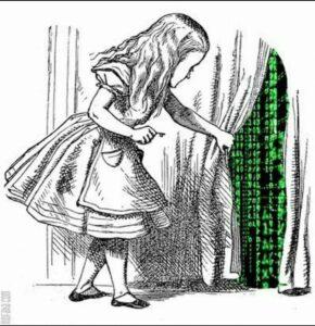 Alice olhando atras do véu da realidade